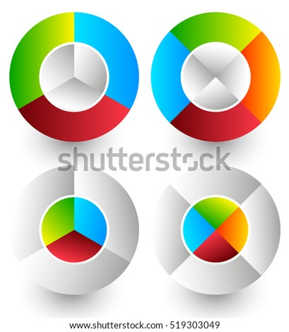 Pie chart, pie graph icons. Analytics, diagnostics, infographic icons. Colorful segmented circle elements. Divided circles in 3 and 4 parts with 2 version