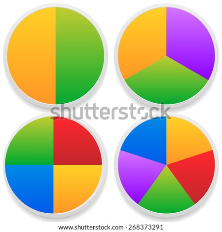 Pie Chart Vector. Pie Chart, Pie Graph Elements - stock vector