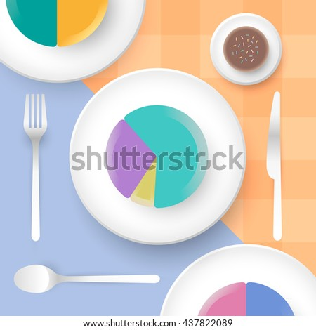 Pie charts cake on plate with knife, fork and spoon. Gingham background. Top view dining. Vector illustration