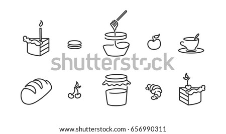 Piece of birthday cake, candle, Piece of cherry pie, Macaroon marshmallow, Honey jar, Jam, Baguette bread, cup of tea Croissant Minimalistic Flat Line Stroke Icon Pictogram Illustration Set Collection