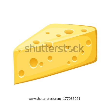 Piece of cheese. Vector illustration. - stock vector