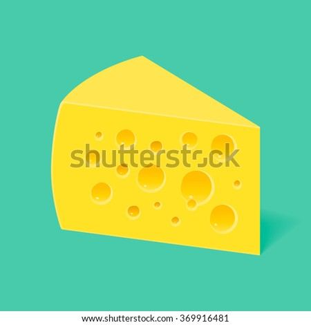 piece of cheese with holes on a blue background