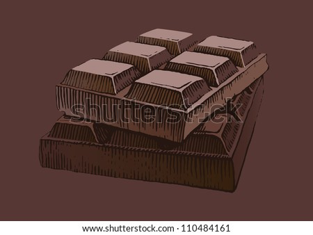 Piece of chocolate - stock vector