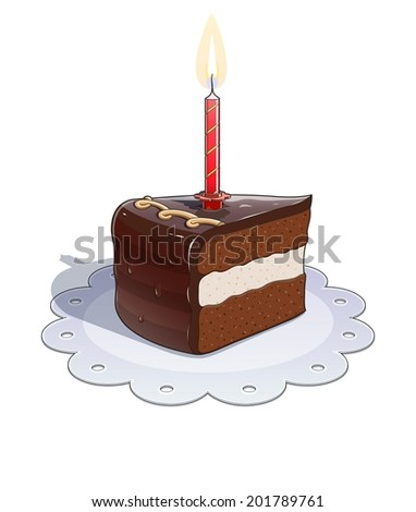 Piece of chocolate cake with candle. Eps10 vector illustration. Isolated on white background