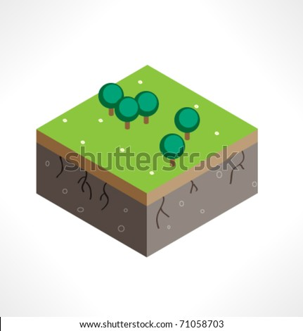 Piece of land with vegetation. Part of the map. Isometric. - stock vector