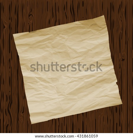 Piece of old paper on wooden texture background. Image trace. Vector illustration. - stock vector