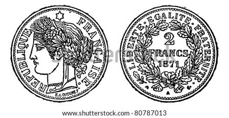 Piece of silver 2 francs, vintage engraved illustration. Trousset encyclopedia (1886 - 1891). - stock vector