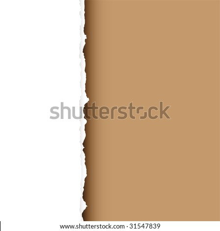 Piece of white paper with torn edge and brown background with shadow - stock vector