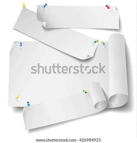 Pieces and rolls of blank paper with pins on a white background. Vector illustration - stock vector