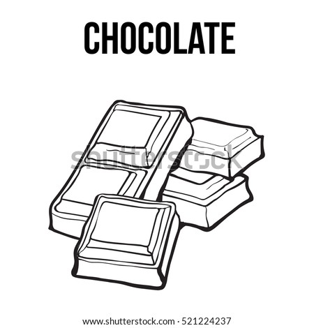Pieces Black White Chocolate Bar Sketch Stock Vector (Royalty Free) 521224237 - Shutterstock