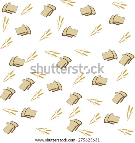 pieces of bread and yellow ears of wheat on a white background