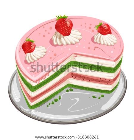 Pieces of cake with strawberry - stock vector