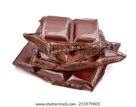 Pieces of chocolate. Vector illustration. - stock vector