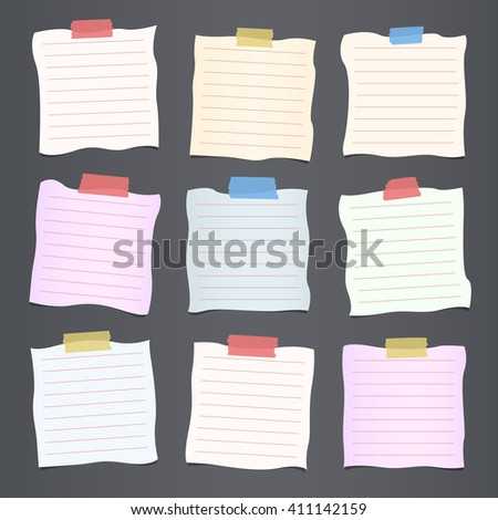 Pieces of crumpled cut colorful lined note paper are stuck on dark gray background - stock vector