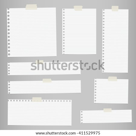 Pieces of cut out white lined notebook paper are stuck on gray background - stock vector