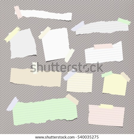 Pieces of different size ripped note, notebook, copybook paper sheets stuck with sticky tape on squared pattern