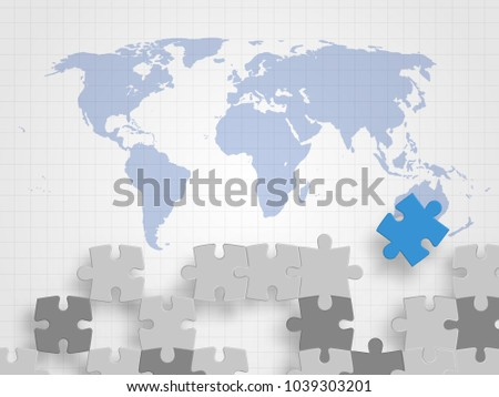 Pieces jigsaw on world map represents stock vector 1039303201 pieces of jigsaw on world map represents concept of teamwork creative thinking global connection gumiabroncs Choice Image