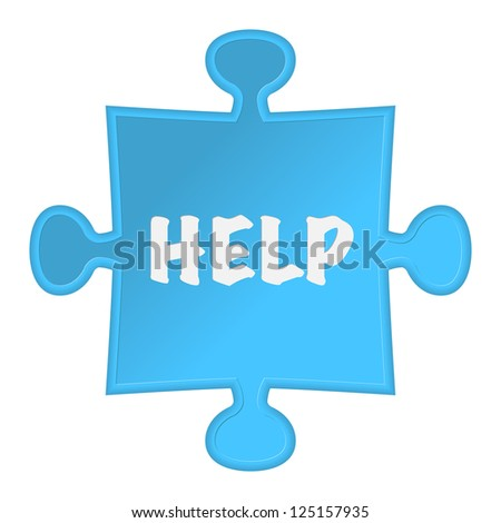 """pieces of puzzle and word """"help"""". Vector illustration - stock vector"""
