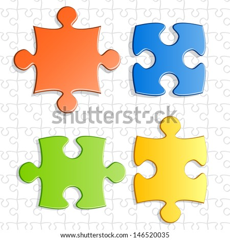 Pieces of puzzle game for abstract connection or integration design  - stock vector