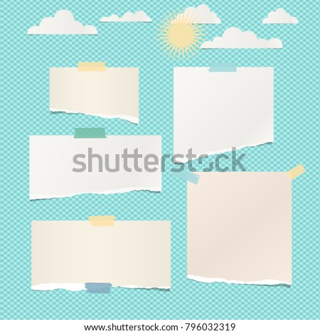 Pieces of ripped white blank note, notebook paper with clouds and sun on turquoise background