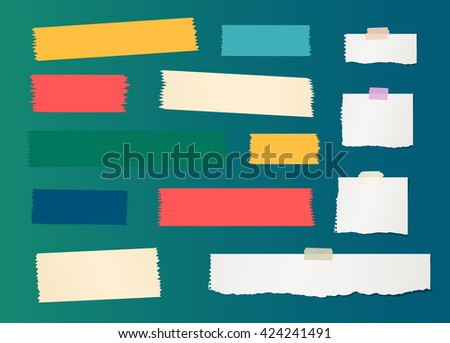 Pieces of ripped white blank note paper, colorful sticky, adhesive tapes are stuck on gradiant wall