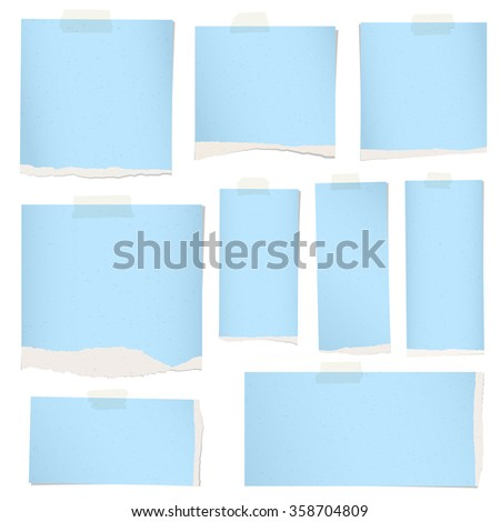 Pieces of torn blue grainy note paper with adhesive tape. - stock vector