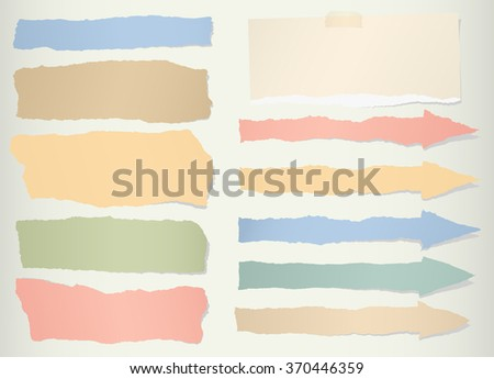 Pieces of torn colorful blank paper, arrow symbol - stock vector