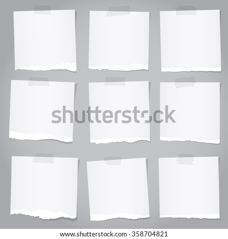 Pieces of torn gray note paper with adhesive tape - stock vector