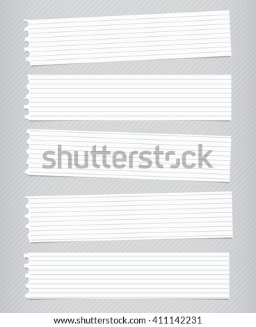Pieces of torn white lined notebook paper, banners are stuck on gray diagonal background