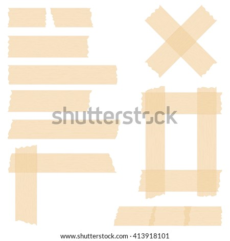 Pieces of transparent adhesive tape on white background, sticky tape, vector eps10 illustration - stock vector