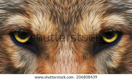 Piercing hypnotic look of a wolf. Menacing expression of the very beautiful animal and extremely dangerous beast. Amazing vector image in oil painting style. Great for user pic, icon, label, tattoo. - stock vector