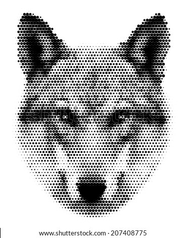 Piercing look of severe wolf, isolated on white background. European wolf, beautiful animal and dangerous beast. Amazing black and white dotted vector image, great for user pic, icon, label or tattoo. - stock vector