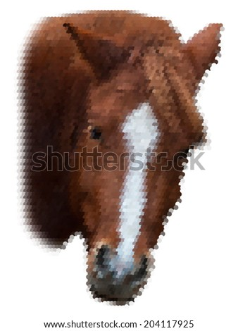 Piercing wisdom look back of a grace red horse with white stripe on the face, isolated on white background. Beautiful mare, looking straight into the camera. Amazing and unusual scaly vector image. - stock vector