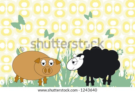 Pig and sheep - stock vector