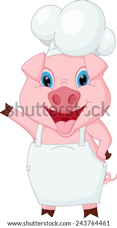Pig chef cartoon waving hand  - stock vector