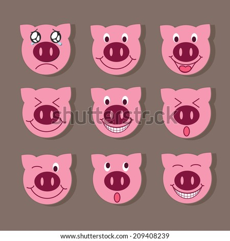 Pig Emoticons  - stock vector