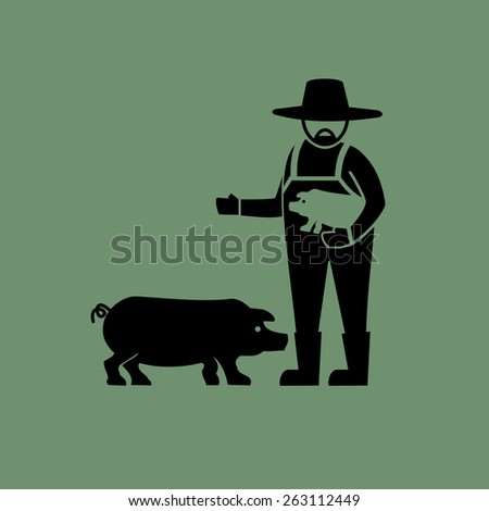 Pig farming icons.vector - stock vector