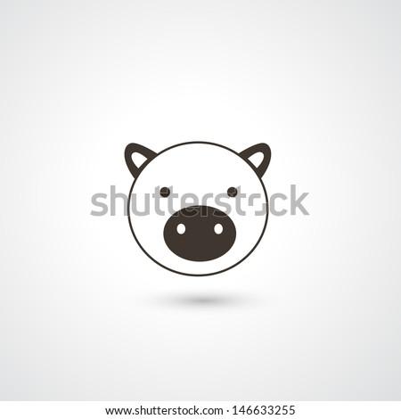 Pig head icon vector - stock vector