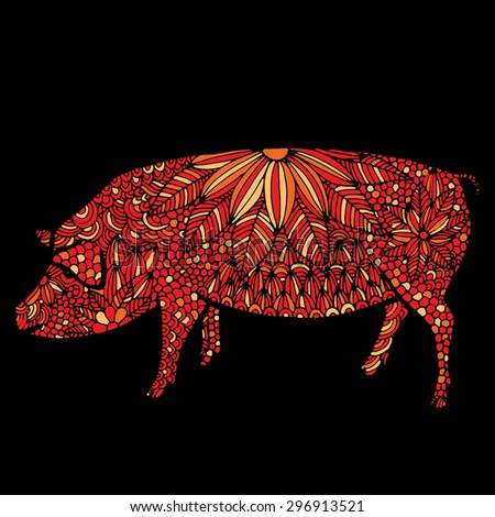 Pig illustration- Chinese zodiac - stock vector