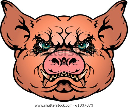 Pig image completed in EPS with three layers for ease of editing. - stock vector