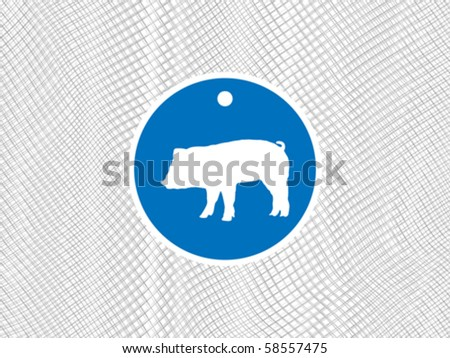 pig label - stock vector