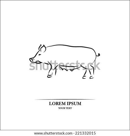 Pig line art - stock vector