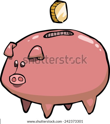 Pig piggy bank on a white background vector illustration - stock vector