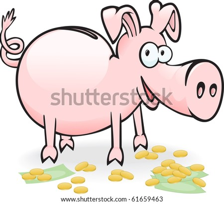 pig-piggy bank on the scattered banknotes and coins