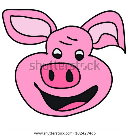 pig pink piggy cute animal vector isolated on white background