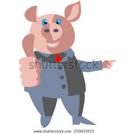 Pig pointing to where the better. - stock vector