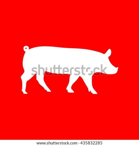 Pig sign illustration - stock vector