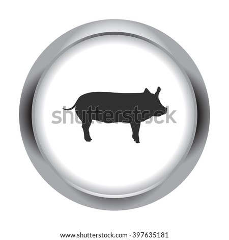 Pig silhouette  simple icon on round  background