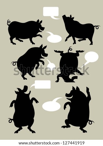 Pig Silhouette Symbols Set. Very smooth and detail vector with speech blank bubble. You can put your own text in the bubble. Easy to change color. Use Adobe Illustrator 8 or higher to edit vector file - stock vector