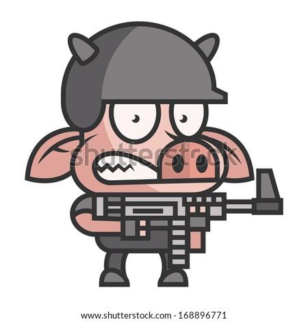 Pig soldier holding machine gun - stock vector